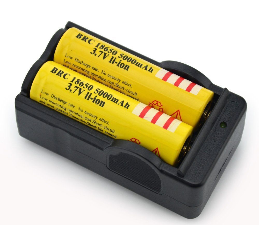 On the Way(TM)2Pcs Yellow 18650 3.7V 5000mah Rechargeable Lithium Battery with 18650 battery Charger 4330917905