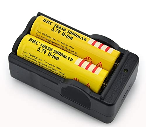 On the Way(TM)2Pcs Yellow 18650 3.7V 5000mah Rechargeable Lithium Battery with 18650 battery Charger
