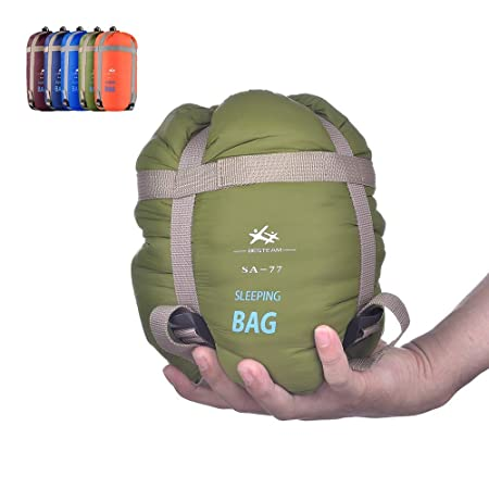 BESTEAM Ultra-light Warm Weather Envelope Sleeping Bag, 75 L x 30 W, Outdoor Camping, Backpacking Hiking – Fit for Kids, Teens and Adults – Spring, Summer Fall – Waterproof Compact Army Green