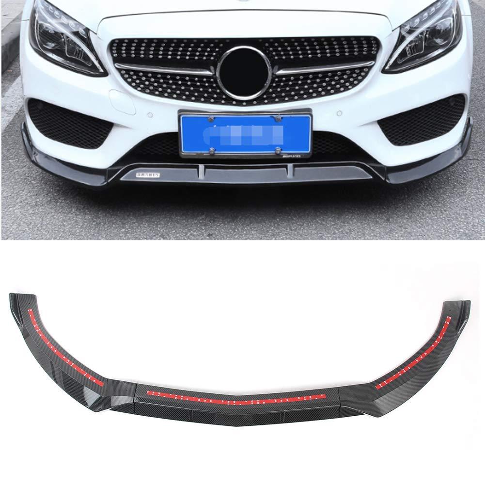 GZYF ABS Auto Front Bumper Lip Cover Trim Fits 2015-2018 Mercedes Benz C-Class W205 Sport DP Style, Carbon Fiber Look