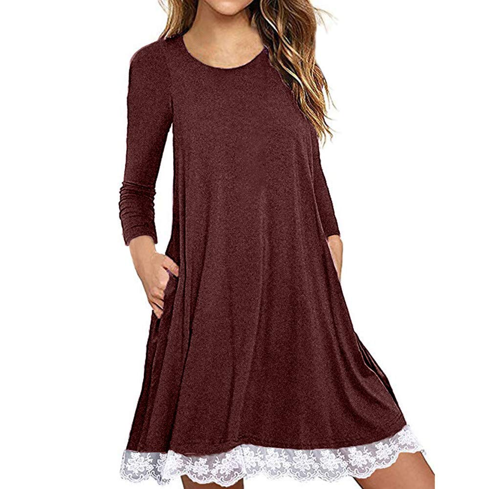 Wobuoke Women's Casual Long Sleeve Cotton Lace Patchwork T Shirt Dress with Pockets