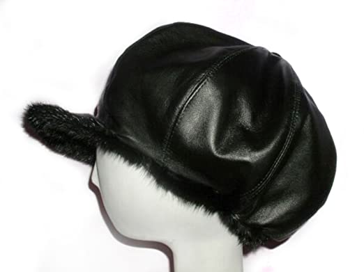 FursNewYork Black Mink Leather Reversible Applejack Oversize Hat - Unisex c2f9f8bc28a
