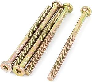 uxcell M6x90mm Male Thread Hex Socket Head Cap Screws Bolts Bronze Tone 5 Pcs