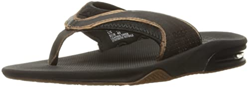 Leather Fanning Lux, Sandalias para Hombre, Negro (Worn Black), 42 EU Reef