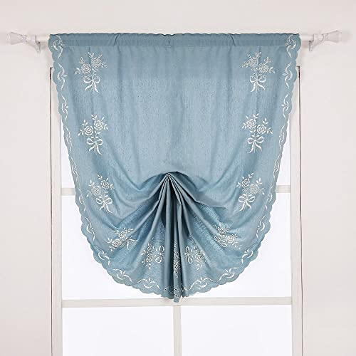 ZHH Cotton Tie-Up Roman Shade Curtain Hollow-Out Handmade Embroidered Flowers Pastoral Style Blue Curtain, 47 Inch Wide by 92 Inch Long