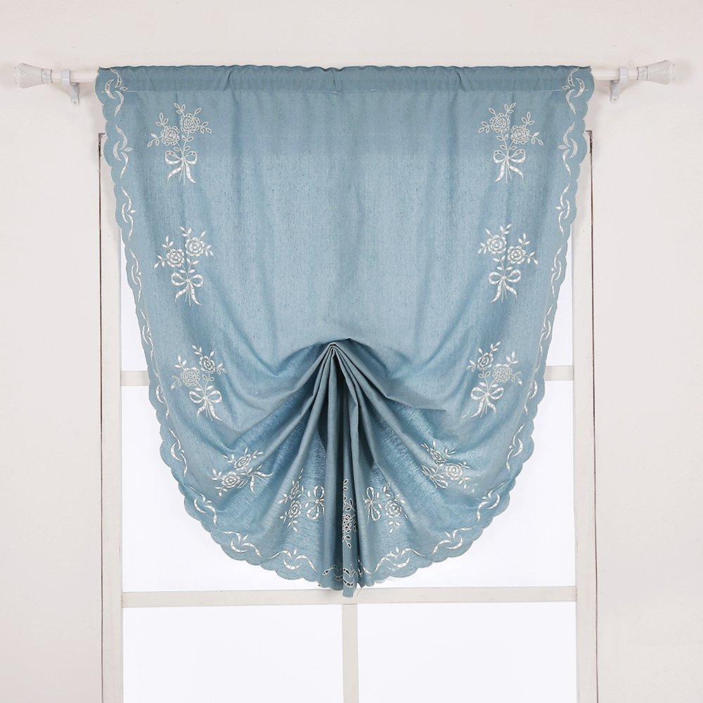 ZHH 47 Inch by 69 Inch Hollow-Out Handmade Embroidered Flowers Cotton Tie-Up Roman Shade Curtain, Blue 16