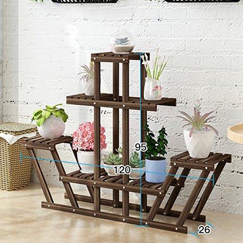Classic Solid Wood Flower Rack 4 Tier Indoor Display Stand, Fir Wooden Flower Pot Display Shelf Multi-function Storage Rack ( Color : Brown ) by Flower racks