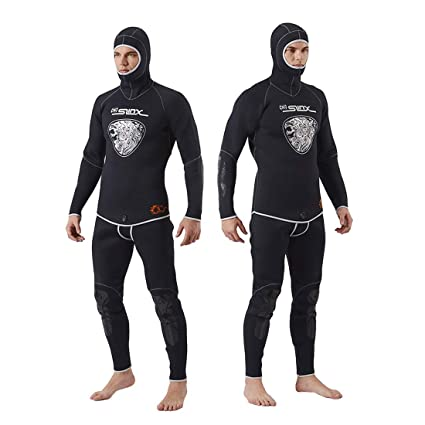Nataly Osmann Men s 5mm Wetsuit,Premium Neoprene 2-Pieces Hooded Super  Stretch Surfing Diving e5d7e4342
