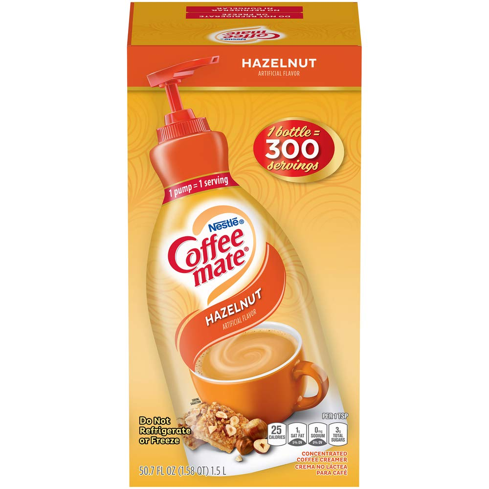 Nestle Coffee mate Coffee Creamer, Hazelnut, Concentrated Liquid Pump Bottle, Non Dairy, No Refrigeration, 50.7 Ounces