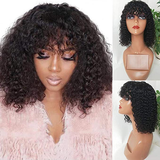 Amazon Com Bestsojoy Short Bob Curly Human Hair Wigs With Bangs 150 Density None Lace Front Wigs Glueless Machine Made Wigs For Black Women 12a Brazilian Virgin Afro Kinky Curly Wigs 8