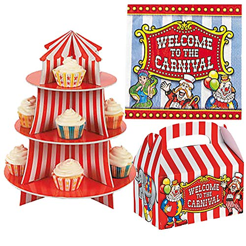 Circus Big Top Carnival Party Supplies Pack Set Cupcake Holder Stand with 12 Treat Boxes & 16 Luncheon Napkins - Birthday Party Circus Theme Party Table Decoration Centerpiece (Stand Holder Cupcake Circus)
