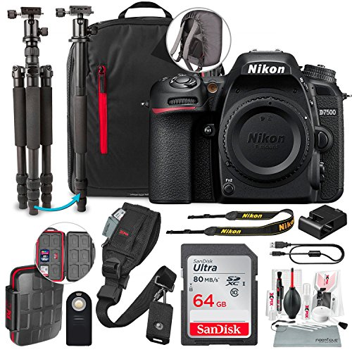 Nikon D7500 DSLR Camera (Body Only) with 64GB + Tripod/Monopod + DSLR Backpack + Deluxe Premium Accessory Bundle & Travel Kit