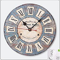 12''Wooden Wall Clock Vintage French Style Antique Shabby Chic Distressed Clock