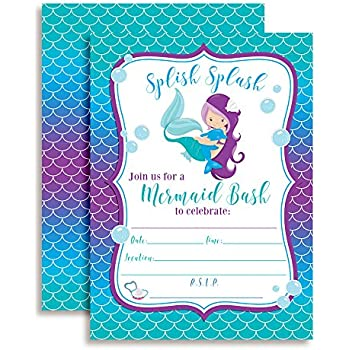 Amazoncom Mermaid Watercolor Birthday Party Invitations for Girls