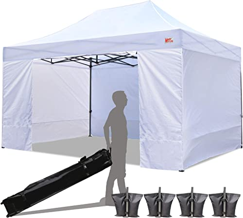 MASTERCANOPY Ez Pop-up Canopy Tent 10×15 Commercial Instant Canopies with 4 Removable Side Walls and Roller Bag, Bonus 4 SandBags 10×15 Feet, White
