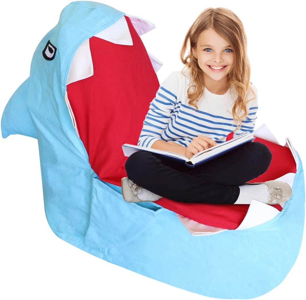 TOPNEW Storage Bean Bag Animal Stuffed Storage Chair, Plush Animal Toys Canvas Organizer, Pillow Clothes Stuffed Storage Bag No Stuffing (Blue Shark)