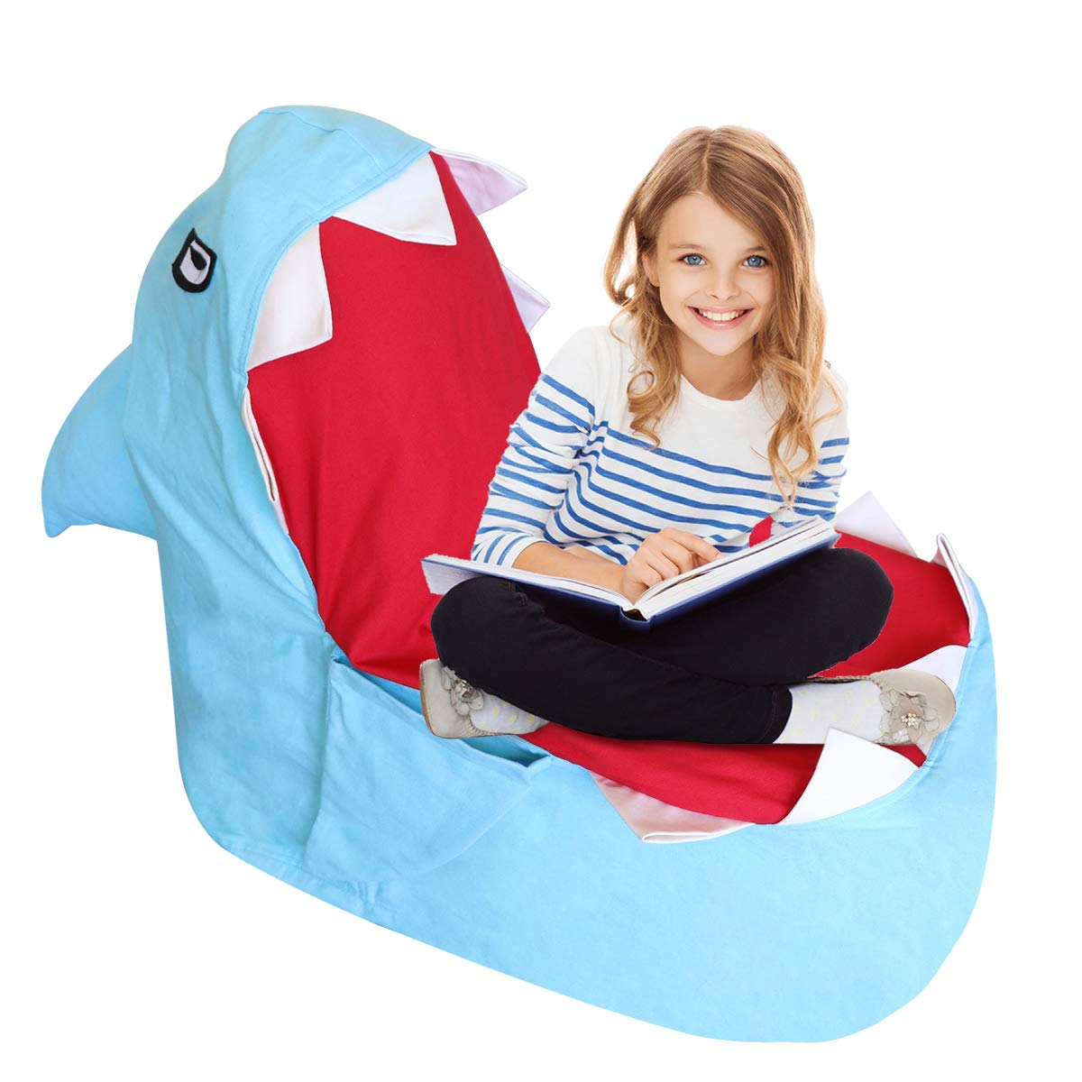 TOPNEW Storage Bean Bag Animal Stuffed Storage Chair, Plush Animal Toys Canvas Organizer, Pillow Clothes Stuffed Storage Bag No Stuffing Blue Shark