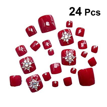 Frcolor 24 piezas de uñas postizas con cristales artificiales para dedo del pie de Navidad cubierta