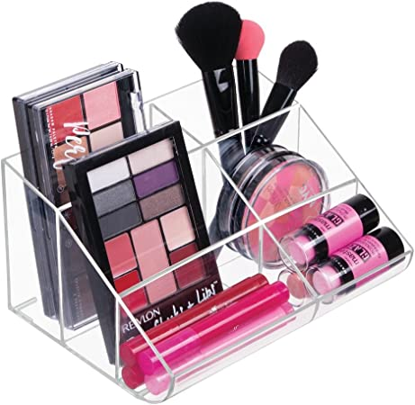 mDesign Organizador de Maquillaje – Caja Transparente con 6 Compartimentos - Ideal para Guardar Maquillaje y cosméticos, como Organizador de labiales, etc. – Plástico Transparente: Amazon.es: Hogar