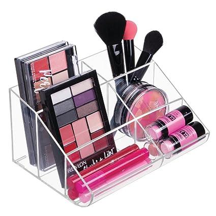 mDesign Organizador de maquillaje – Caja transparente con 6 compartimentos - Ideal para guardar maquillaje y