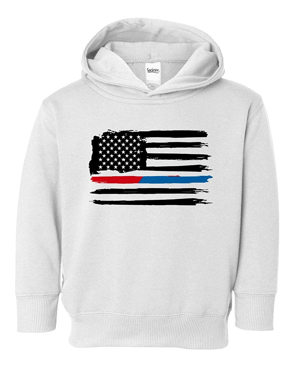 Societee Thin Red Blue Line American Flag Girls Boys Toddler Hooded Sweatshirt