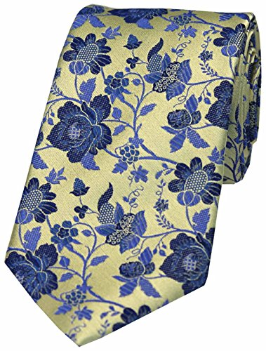 Gold Blue Silk Pattern Floral Soprano Tie With dqxvZ10