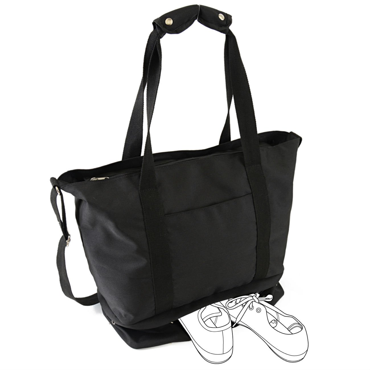 roseta 2Rooms, Gym Tote Bag with Shoe Compartment , Flight , Fitness(Large, Black)