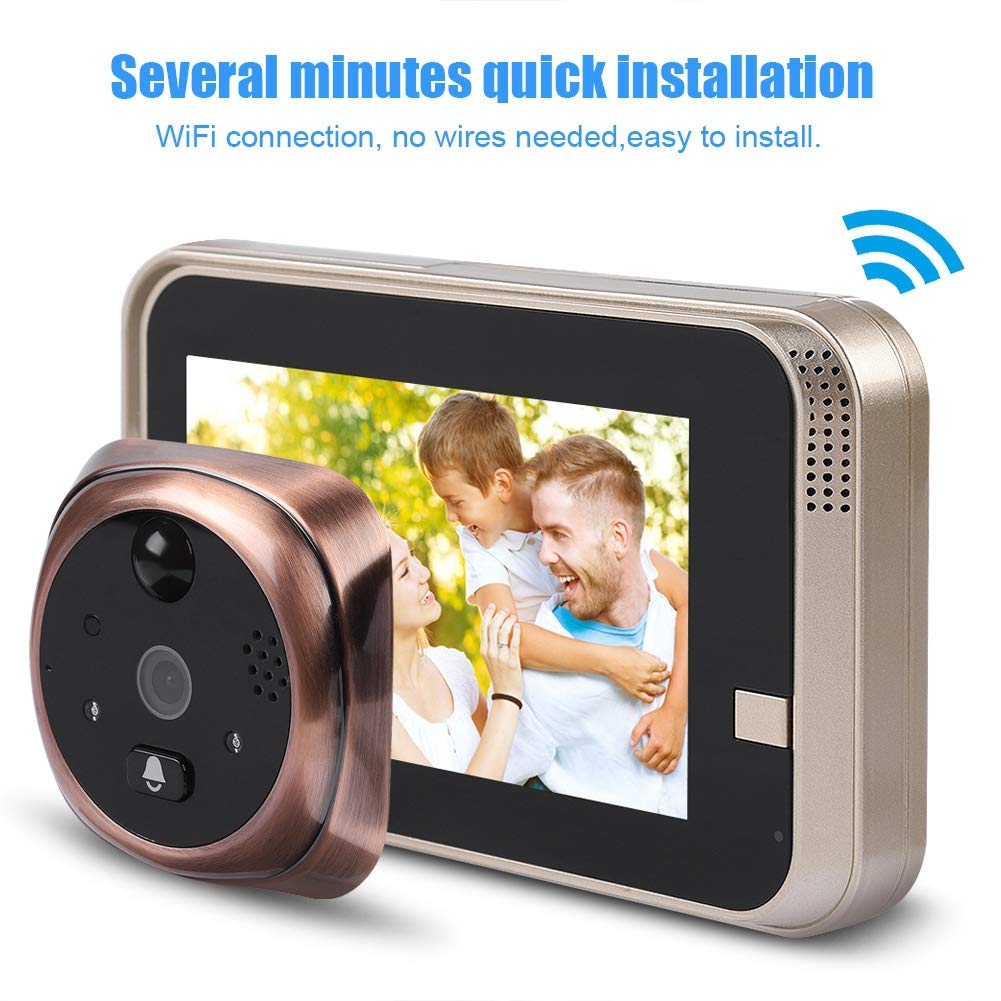 4.3'' LED Digital Peephole Door Viewer 720P Smart Vision Door Camera Monitor Indoor Viewer IR Night Vision Motion Detection Noise Cancellation 166 Degrees Wide Angle WiFi - iOS, Android, Mac by Sonew (Image #9)