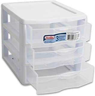 product image for Sterilite Organizer Mini 3 Drawer Wht Sm (Pack of 2)