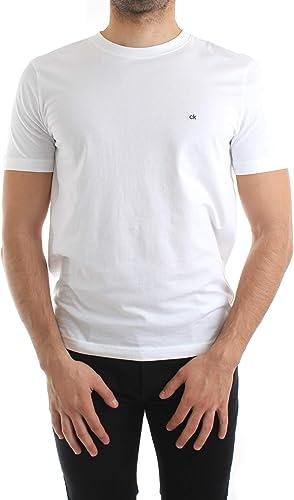 Calvin Klein - Camiseta de algodón con Logotipo Bordado, Color Blanco: Amazon.es: Ropa y accesorios