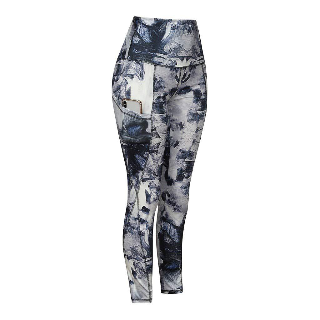 Hahashop2 Pantaloni da corsa da donna Leggins stretch pantaloni da corsa per chiavi yoga pantaloni da yoga da donna con tasca in vita alta e stampa digitale Slim L multicolore