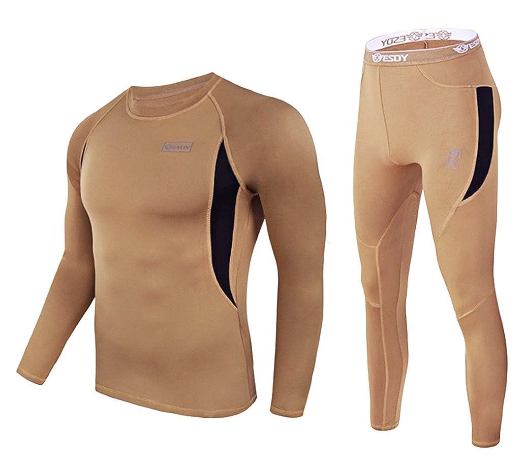 exeke SDY Men's Thermal Underwear Set Fleece Lined Long Johns Athletic Base Layer Top & Bottom