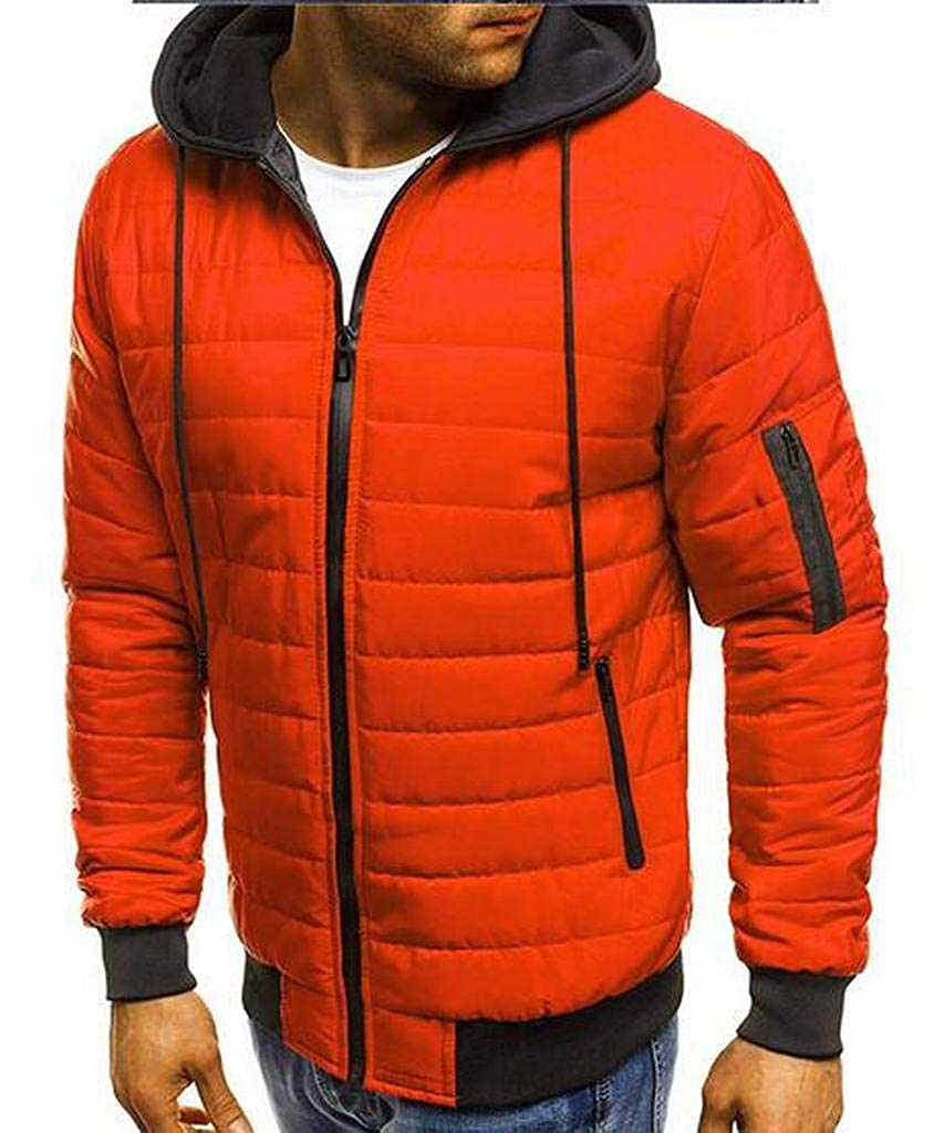 Fubotevic Men Plus Size Winter Hooded Zip Up Down Quilted Puffer Jacket Coat Outerwear