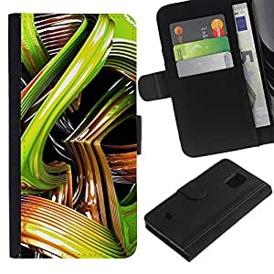 UberTech / Samsung Galaxy S5 Mini, SM-G800, NOT S5 REGULAR! / Green Snake 3D Art Abstract Plastic Lines / Cuero PU Delgado caso Billetera cubierta Shell Armor Funda Case Cover Wallet Credit Card