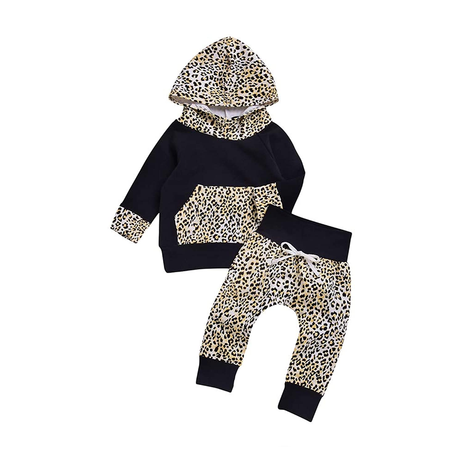 1912f9462f Top1: Charmkids Toddler Baby Boys Girl Long Sleeve Leopard Print Black  Hooded Sweater+Leopard Lace Trousers Infant Outfits