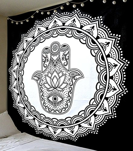 [Black And White Tapestry, Hamsa Hand Tapestry Wall Hanging, Mandala Tapestries, Indian Traditional Cotton Printed Bohemian Hippie Large Wall Art by JaipurHandloom] (Hamsa Wall)