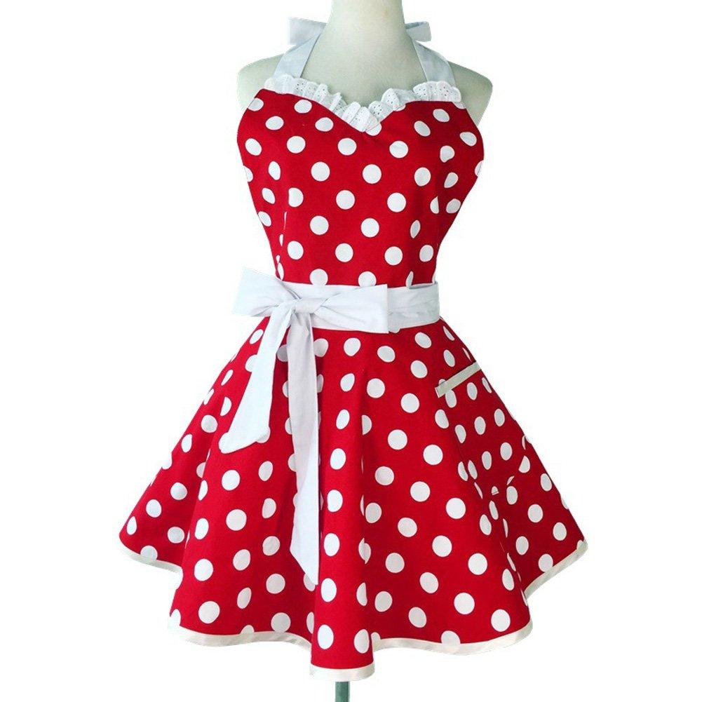 Sweetheart Retro Kitchen Aprons Woman Girl Cotton Polka Dot Cooking Salon Pinafore Vintage Apron Dress (Black) Chengsan