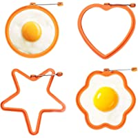 Egg Ring, Mamo Silicone Pancake Mold, 4 Pack Non Stick Fried Egg Cooking Rings, Reusable Fried Perfect Eggs Ring Mold for Stunning Breakfasts Pancake Shaper 2020 New