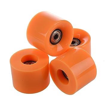 Ruedas de monopatin - SODIAL(R)Conjunto de 4 Ruedas de monopatin 6 cm de diametro y 4,5 cm de ancho para Penny oranje: Amazon.es: Deportes y aire libre