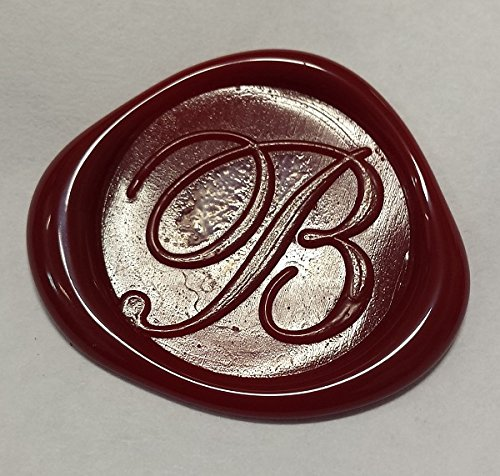 100 pack of Wax Seals: Self adhesive wax seal sticker - B - Shelley Allegro Font - Red - 3/4