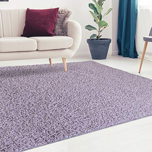 iCustomRug Cozy and Soft Solid Shag Rug 5X7 Lilac, Pastel Purple Ideal to Enhance Your Living Room and Bedroom Decor