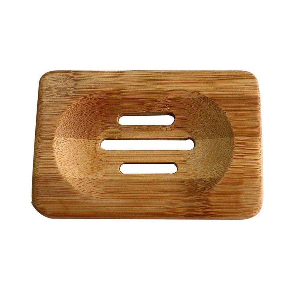 CAOLATOR Trapezoid Caja de Jabón de Bambú Natural, Jabonera para la Ducha, Contador,