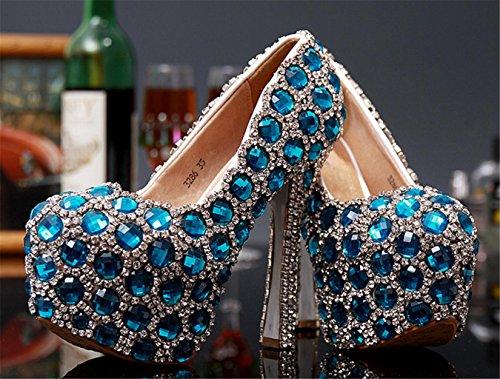 Loose Heel High Chaussure Bonne Mariée Mnii Robes Cheville Color Pierres Flats Qualité Mariéestraps Strass Bleu De Pour Holding Robe Femme Cristal Braguilles anTqTFfwU