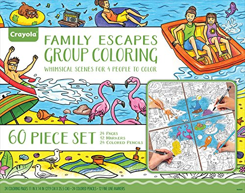 Crayola Family Escapes Group Coloring Kit, Family Art Project, Adult Coloring, Gift