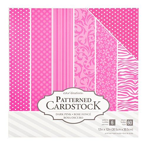 American Crafts Core'dinations Cardstock 60 Sheet 12 x 12 Inch Paper Pack Light Pink
