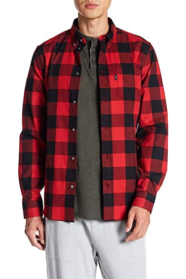 a1c26710eff Amazon.com  WeSC New  98 Fiery Tomato RED Flannel OLAVI Relaxed FIT ...