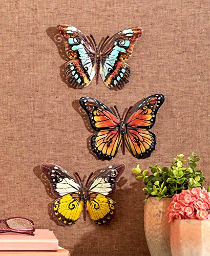 Set of 3 Orange/Yellow Butterfly Wall Plaques