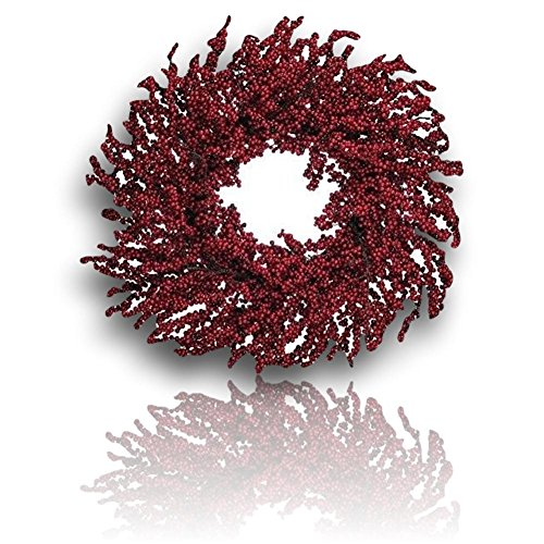 "Custom & Unique (27"" Inch) 1 Single Large Size Decorative Holiday Wreath for Door, Made of Resin w/ Artificial Winter Festive Sparkly Glimmering Christmas Elegant Berry Branches Style (Red & Brown) (Winter Red Berry Wreath)"
