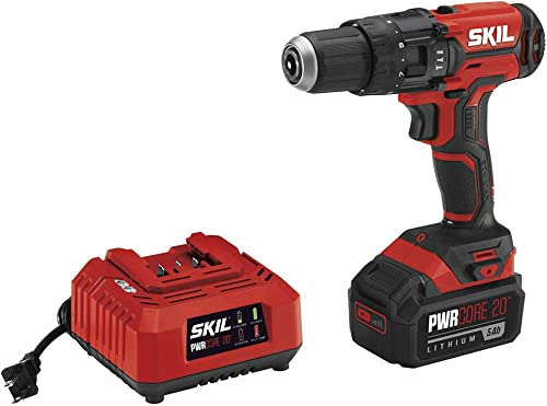 SKIL 20V 1 2 Inch Hammer Drill, Includes 5.0Ah PWRCore 20 Lithium Battery and Charger – HD527803