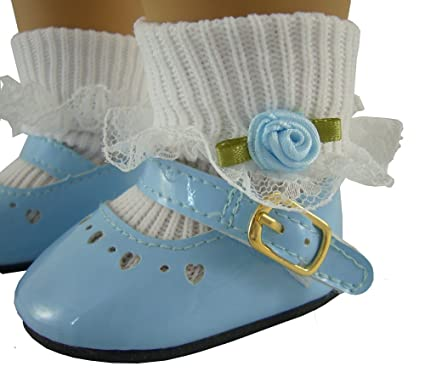 aa23565b06ca0 Light Blue Patent Shoes & Rosebud Socks Fits American Girl Dolls